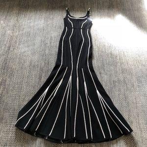 Herve Leger black and white knit dress